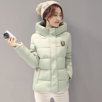 Women Hooded Down jacket Warm Thick Coat Slim Cotton Jacket