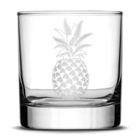 Premium Whiskey Glass, Pineapple Design, 10oz