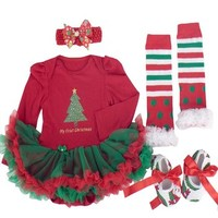 Infant Baby Little Girls Christmas Tree Outfits Xmas Sets Dress Romper Headband (M#3-6Month)