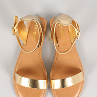 Bamboo Metallic Ankle Buckle Open Toe Flat Sandal