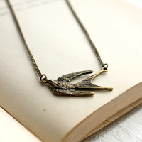 Simple Antique Gold Swallow Necklace - Rustic Rugged Jewelry - Woodland Jewelry - Bird Necklace - Vintage Style Jewelry