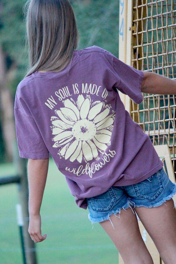 Image of Sassy Frass My Soul is Made of Wildflowers Comfort Colors Girlie Bright T Shirt