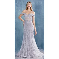 Andrea & Leo A0666 Dress Silver Long Lace Off The Shoulder Mermaid Gown
