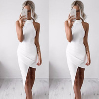 High-neck Sleeveless Slim Solid Irregular Dress