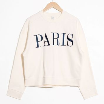 & Other Stories | Embroidered Paris Pullover | Off white/ Navy