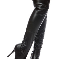 Black Faux Leather Thigh High Platform Stiletto Boots