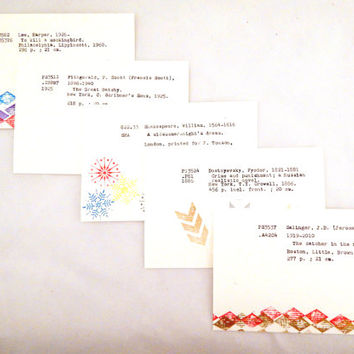 Set of 5 literary postcards, library card catalog cards, book postcards, reading postcards, abstract design, literature postcard set