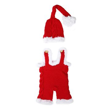 Christmas born Photo Props Baby Xmas Crochet Knit Costume Infant Hat Rompers Outfits Baby Photography Props