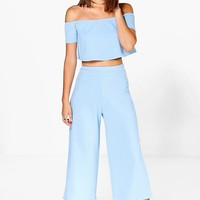 Lexi Off The Shoulder Top And Culotte Co-Ord Set | Boohoo