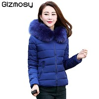 Winter Hooded Jacket Women Cotton Warm Coat Short Slim Parkas Ladies Plus Size middle aged Fur Collar Snow Wear Jackets SY553