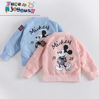 Trendy Baby Clothes Cartoon Mickey Pattern Girls Boys Jackets Coats Toddler Kids Jacket Outwear Baseball Windproof Children Clothes New AT_94_13