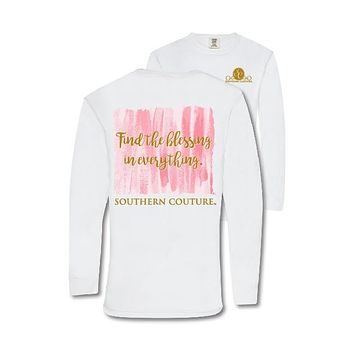 Southern Couture Preppy Find The Blessing Comfort Colors Long Sleeve T-Shirt