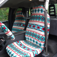 1 Set of Southwest Tribal  Print Seat Covers and  Steering Wheel Cover Custom Made.