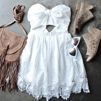 final sale - ribbon tie white crochet summer dress