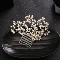 Luxury Simulated Pearl Bride Hair Accessories Silver Leaf Pearl Bridal Hair Combs Pearls Hairpins Wedding Hair Jewelry for Women