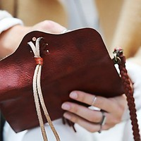 Free People Womens Leather Wrap Wallet