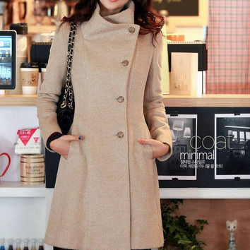 women's Fitted Wool autumn winter Pashm Coat jacket / dress Wool Jacket Women Coat Beige Coat   S-L