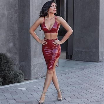 Fashion Solid Color Bright Leather Sleeveless Bra Split Skirt Set Two-Piece