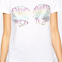 Worn By Mermaid Shells Boxy T-Shirt In Irridescent Print