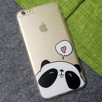 Love Panda Case Ultrathin Cover for iPhone 7 6 6s Plus + elephant ring + gift box