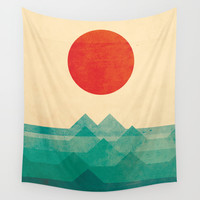 The ocean, the sea, the wave Wall Tapestry by Budi Satria Kwan