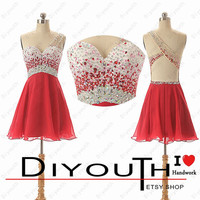 Short prom dress,red prom dress,one-shoulder prom dresses,cheap prom dress,red homecoming dress,custom homecoming dress,red party dress
