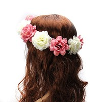 M MISM 2017 Women Rose Flower Crown Hair band Wedding Flower Headband Garland Festival Flower wreath Elastic Hair Accessories