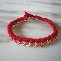 Melodie Chain Bracelet, Gold Chunky Curb Chain Bracelet, Red Braid Bracelet, Trending Accessories, Bridesmaid Jewelries, Friendship Gift