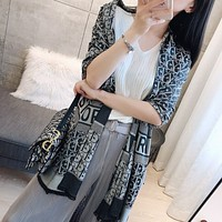Dior new solid color letter scarf female simple wild long scarf shawl scarf dual-use high-end silk scarf