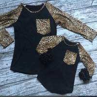 In Stock-Mommy and me Black Leopard icing Raglan