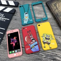 360 Degree Full Cover Body Protective Phone Cases For iPhone 7 8 6 6s Plus SpongeBob Patrick Star Cartoon Pattern case  fundas