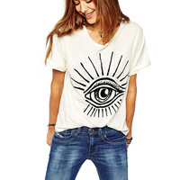 White Eye Print T-Shirt