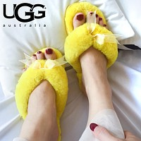 UGG Winter Fashion Women Keep Warm Wool Bow Slipper Shoes Yellow