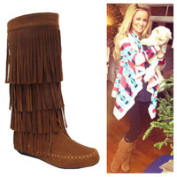 Fringe Boots in Rust