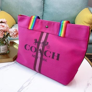 Onewel COACH shopping bag Ze hardware LOGO shoulder bag shopping bag rose red