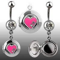 Locket with Heart Belly Ring | Locket Belly Rings