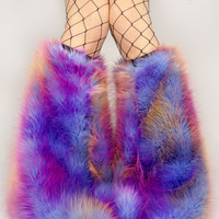 MADE TO ORDER TiE DyE Fluffy Leg Warmers DArK SuNSeT Fluffies monster fur furry bootcovers fuzzy boots gogo rave costume hippie trippy rad