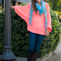 Night Rave Sweater, Neon Coral