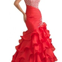 Gorgeous Bridal One Shoulder Empire Long Evening Prom Dress Rhinestones Hot- US Size 8 Red