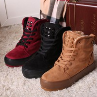 Ankle High Lace-Up Round Toe Flat Heels Women's Winter Boots