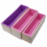 Rectangular Wooden Soap Mold with Silicone Liner