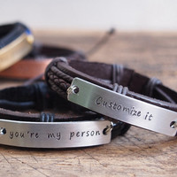 You are my person bracelet, personalized men's gift, you're my person bracelet, Personalized Men's bracelet, Anniversary men's bracelet
