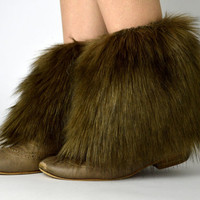 Brown Fur Ankle Boot Covers FREE SHIPPING - Brown Fur Boot Covers, Furry Boot Covers, Brown Boot Covers, Brown Ankle Boot Covers