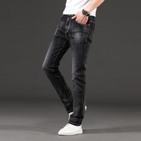 Men's Jeans Summer Thin High Stretch Ripped Denim Pants Grey Skinny Jeans Hollow Out Male Trousers Fake Zipper