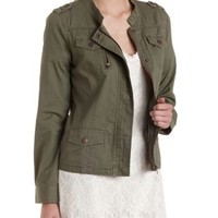 Olive Twill Jacket with Pockets by Charlotte Russe