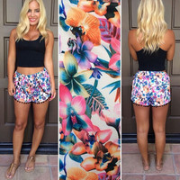 Floral Short with Pom Decor
