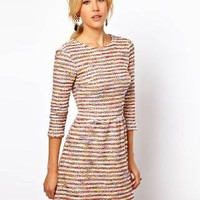 ASOS Textured Fit And Flare Dress