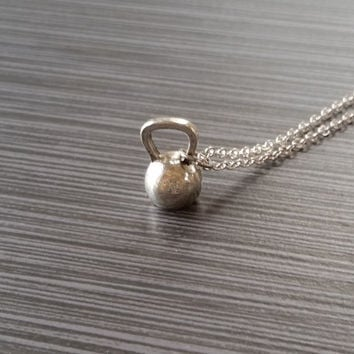 Silver Kettlebell Necklace - Fitness Jewelry - Personalized Necklace - Custom Gift - Weightlifting Necklace - Gym Jewelry - Crossfit Jewelry