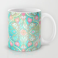 Floral Moroccan in Spring Pastels - Aqua, Pink, Mint & Peach Mug by Micklyn