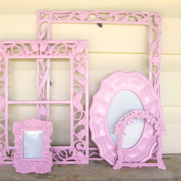 Set of 5 Shabby Chic Princess Pink Picture Frames